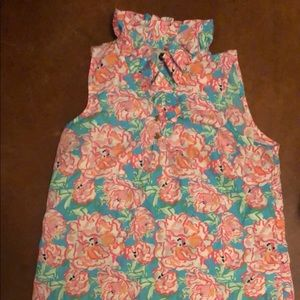 Tops - Mudpie Lucky Charms Dupe Print Ruffle Neck Blouse